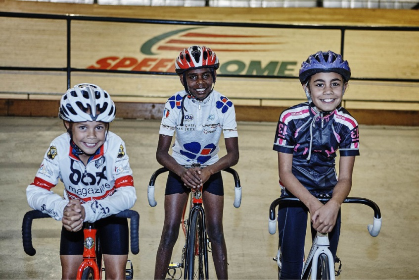 Young cyclists in training: LeMarna Valentine, Rory Charles and Jacqualene Williams. Picture: Steve Lloyd