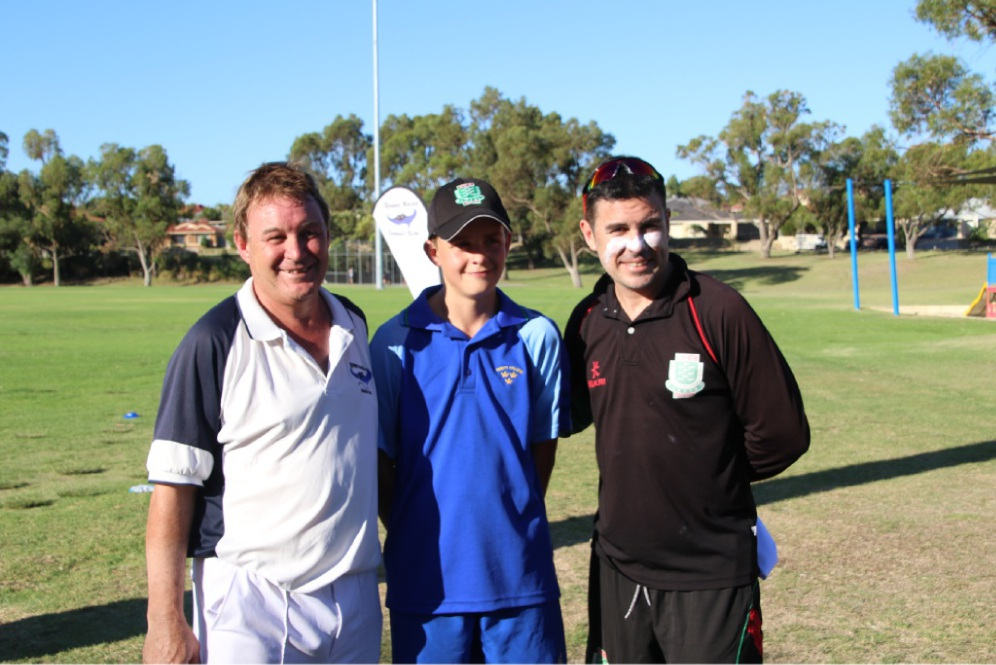 Opposing captains Mark Campbell (left) and Ryan Campbell flank their nephew, Fraser Moore.  Picture: Precious Moments by Deb