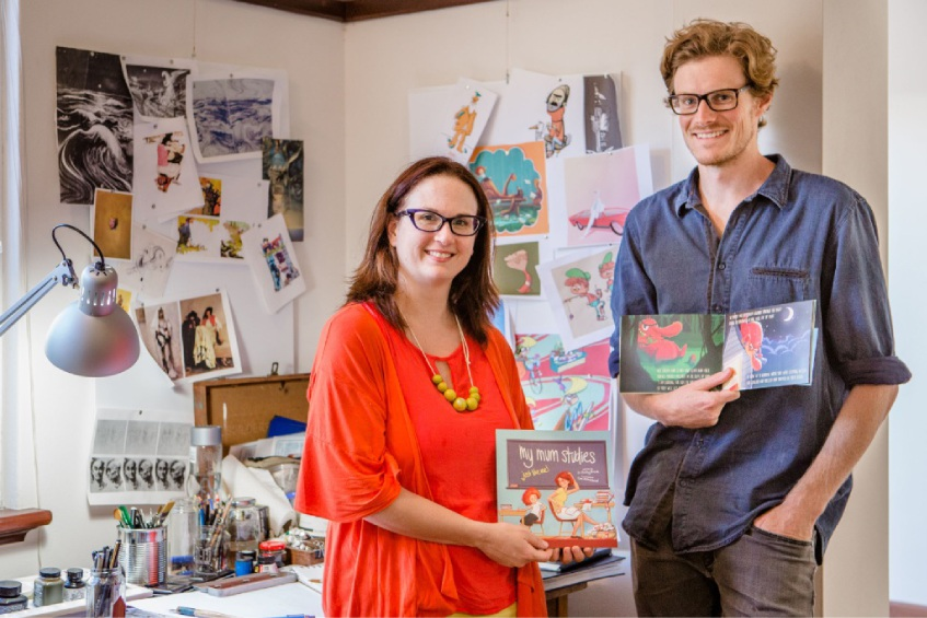 Bailey Bosch with book illustrator Cameron Aitkenhead.