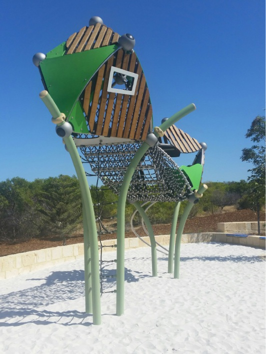 One of the pieces of equipment at the new park in Atlantis Beach estate.