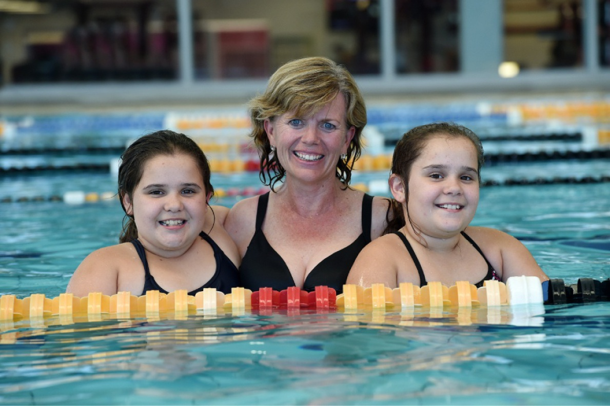 Twins Tahlia and Emily Cappeluti (10) with Genevieve Carr. |Picture: Jon Hewson  d449678