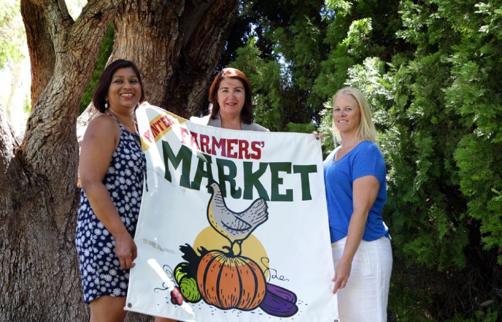 Market manager Cheryl Hamel-Smith, principal Keyla Jeffers and P&C president Pam Birnie. Picture: Martin Kennealey                                                                            d449656