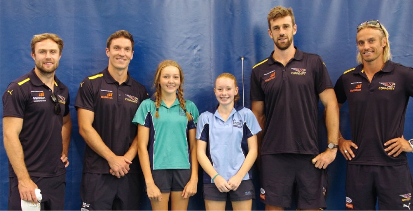 Matilda Hall and Rhiannon Goodman meet Eagles players Mark Hutchings, Sam Butler, Eric McKenzie and former Eagle Mark Nicoski.