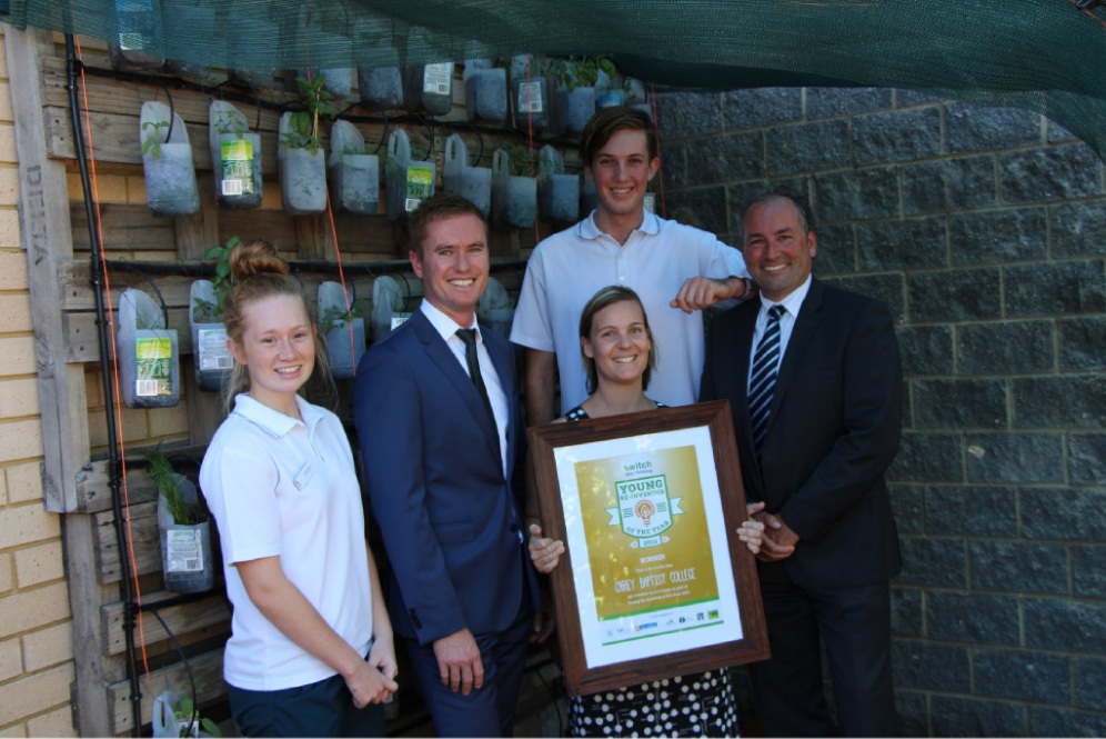 Carey Baptist College student Emily Atwell, Environment Minister Albert Jacob, teacher Melissa Baines, student Jarrad Webb and Waste Authority chairman Marcus Geisler.