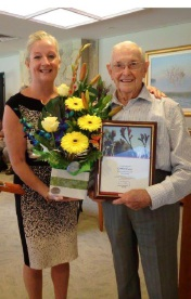 Wanneroo Mayor Tracey Roberts with Gordon Ewers on his 100th birthday.