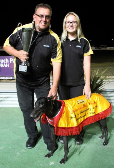 Trainer Chris Halse and handler Tayla Rollings with Dawesville Cup winner Sable Island.