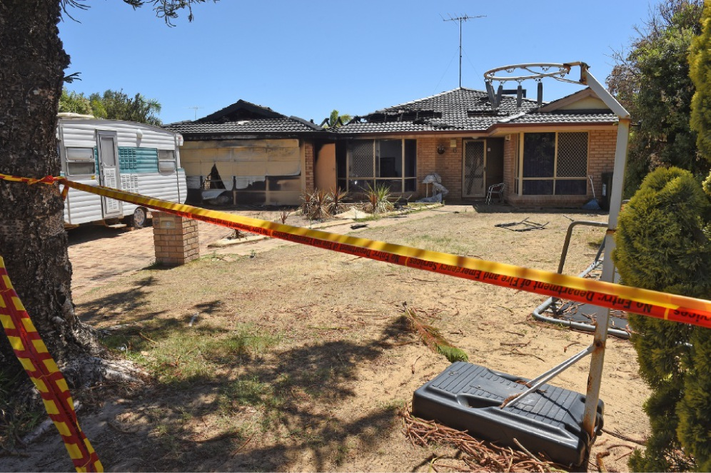 Fires caused hundreds of thousands of dollars of damage to three homes in Mandurah last week. Left: The home in Silver Sands. Right: The interior of the Halls Head home which was gutted by fire.