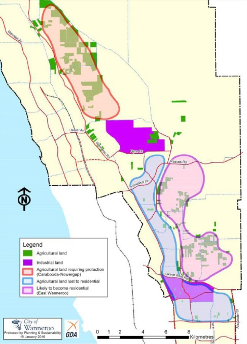 Circled in orange is agricultural land requiring protection.