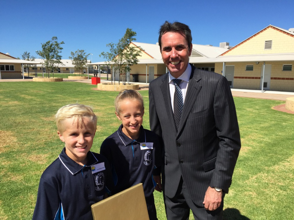 Alkimos Primary School students Fletcher and Sophie Ellerton with |Education Minister Peter Collier.