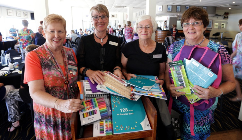 Left: Charmaine Sherman, Jean Newstead, Allison Waldeck and Ros Black. Right: Faye Salfinger, Diane Clifford and Denise Moore. Pictures: Martin Kennealeywww.communitypix.com.au   d449232