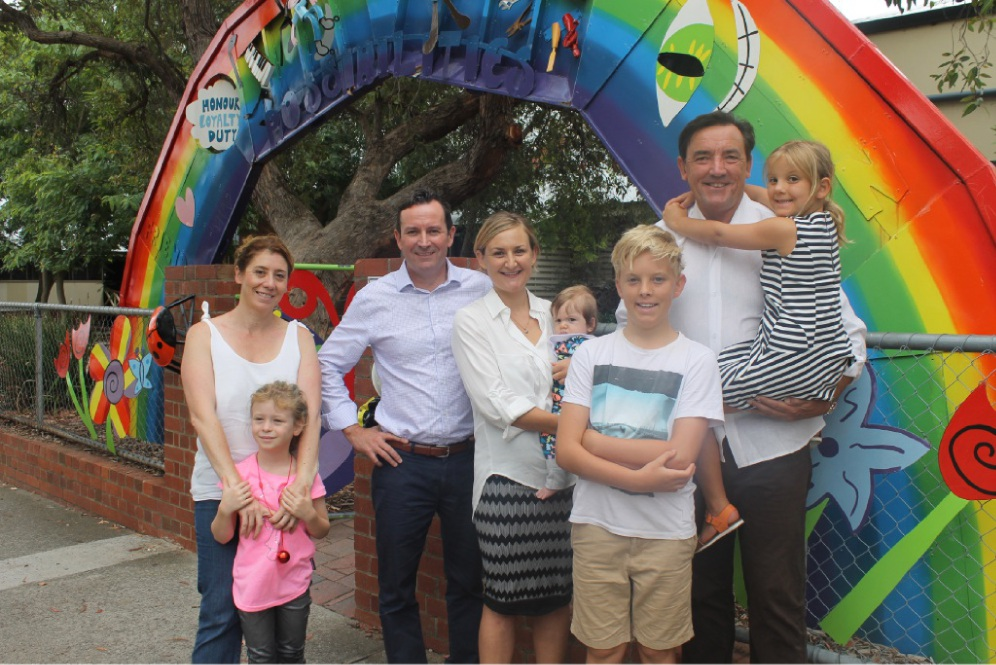 From left: Rita Saffioti and Grace, Mark McGowan, Amber-Jade Sanderson and Hugo, Peter Tinley with Ava and Angus at North Perth.