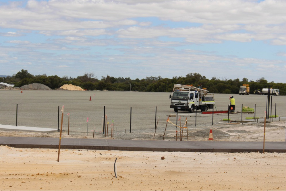 An area at Ellenbrook District Open Space where the synthetic turf fields will be laid.