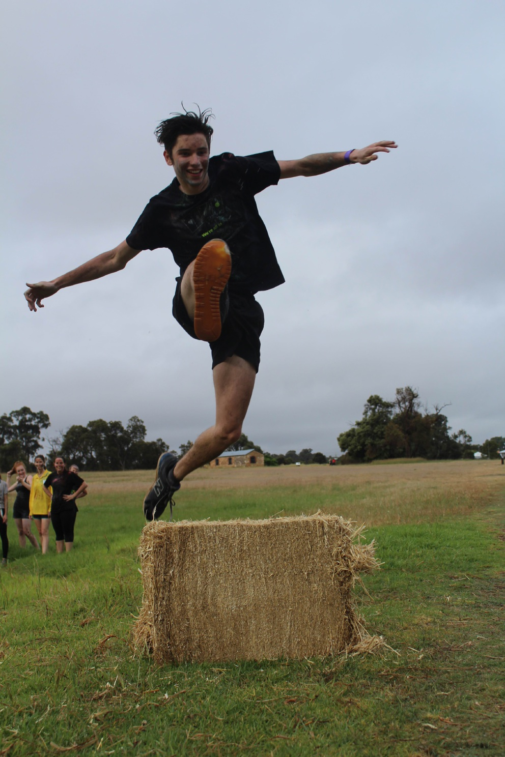 Sean Wales takes on an obstacle in |preparation for Prendiville Plunge.