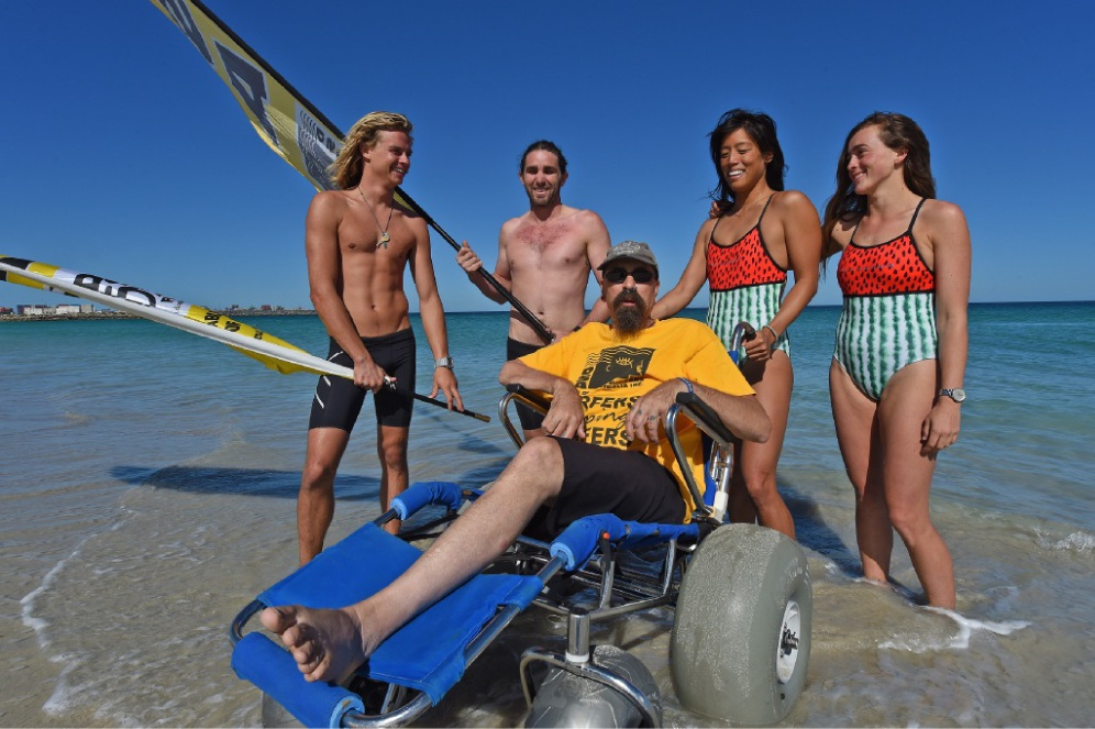 DSA president Bruce Peel (in wheelchair), with, from left: Daniel Roberts, Jim Loughridge, Jess Ngeh and Georgie Monro. Picture: Jon Hewson        www.communitypix.com.au   d449286
