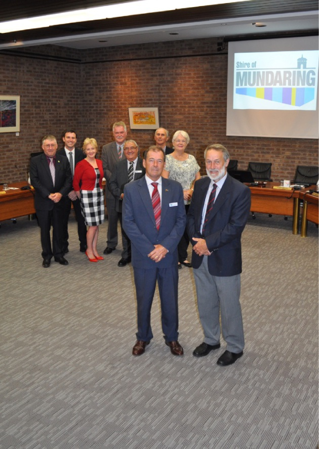 Shire President David Lavell and deputy shire president Patrick Bertola (front) with fellow elected members in the newly arranged council chambers.