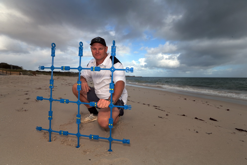 Eco Shark Barrier inventor Craig Moss will trial his product at Lighthouse Beach in Ballina, NSW. Picture: Martin Kennealey www.communitypix.com.au   d438747