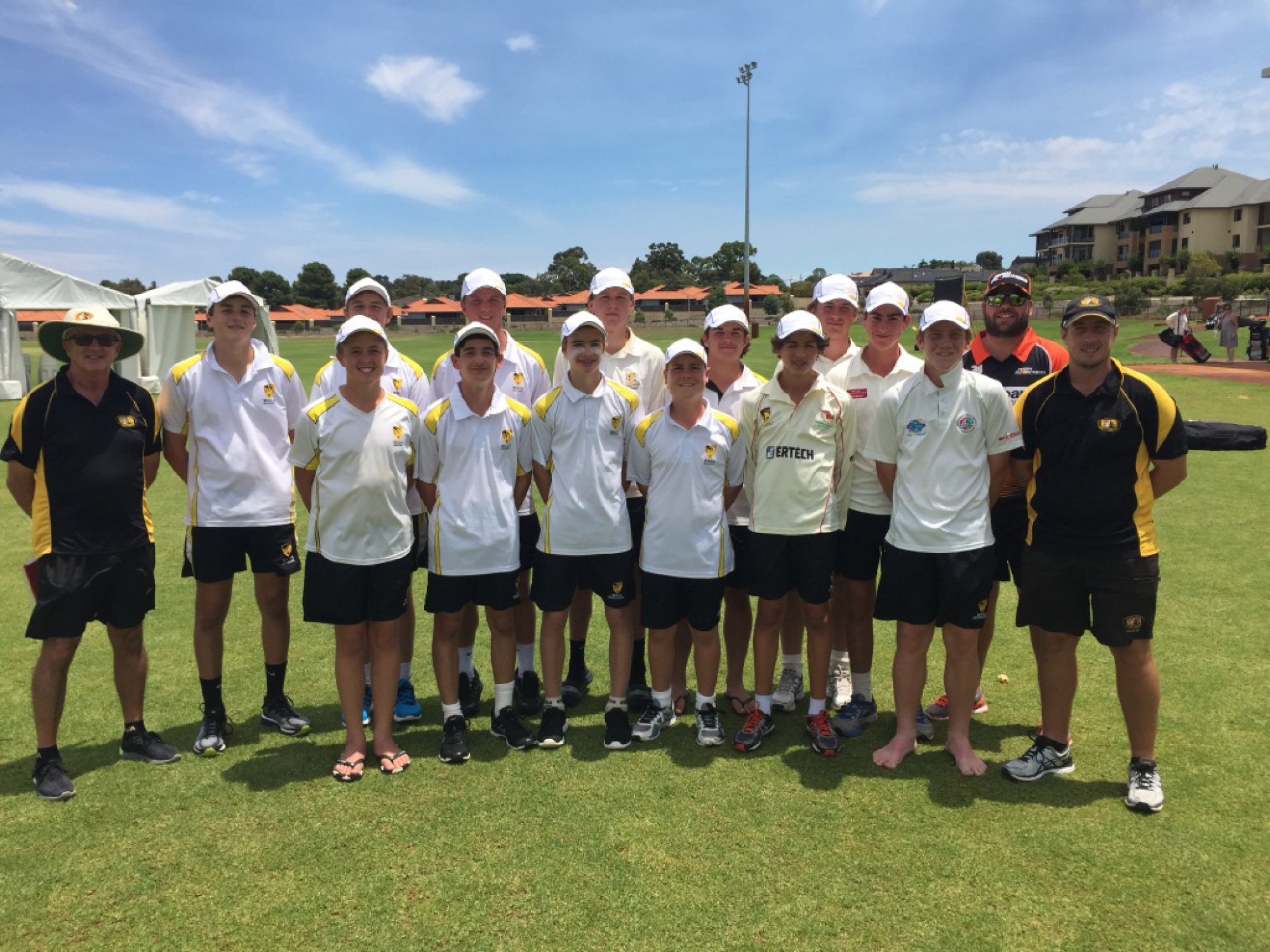 Back (from left): Manager Ian Bycroft, Jordan Clark, Connor Smith, Keegan Finn, Connor Chadwick, Jesse Messere, Damien Burrage, Lachlan Hardy and WACA  talent co-ordinator Rob Wass. Front: Jayden Goodwin, Brendan McPhee, Bayley Holman, Thomas Drake-Brockman, Dean Billington, Ryleigh Cameron and coach Scott Ogilvie.