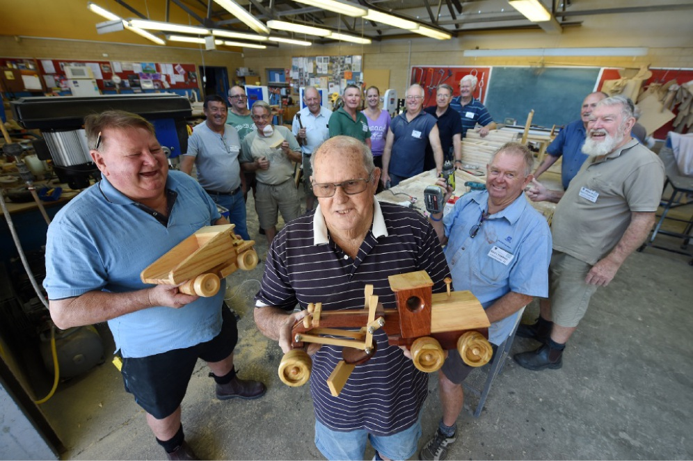 John Boulton, Ray Wright and Dennis Eatott and members at Mandurah Men's Shed.