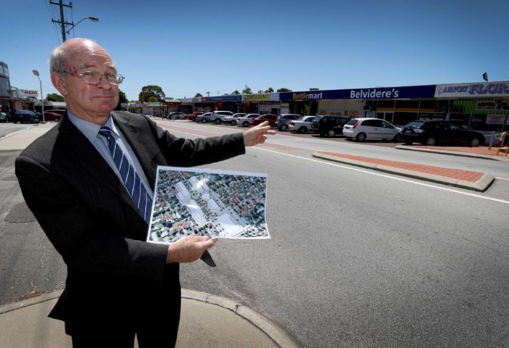 Belmont Mayor Phil Marks with the plan for Belvidere Street. Picture: Matt Jelonek www.communitypix.com.au   d449484