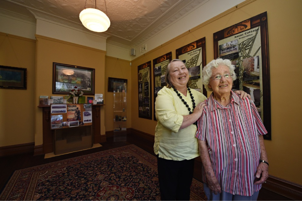 Marjorie Williams (95) in the room she was born in with her daughter Anne Chapple. Picture: Marcus Whisson  d433045