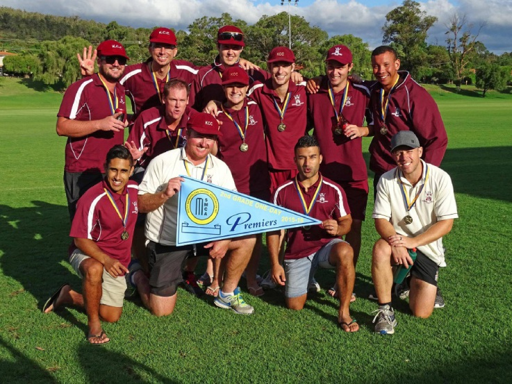 Kwinana Cricket Club celebrates its one-day win after overpowering Kelmscott in the South Metro politan Cricket Association second grade one-day grand final. Picture: Leah Allies Photography