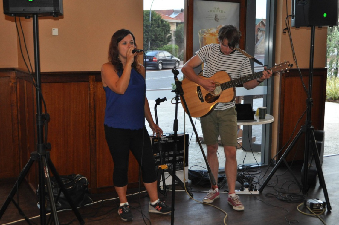 Beth and Col Acoustic Duo play at the Dome Café sundowner launch.