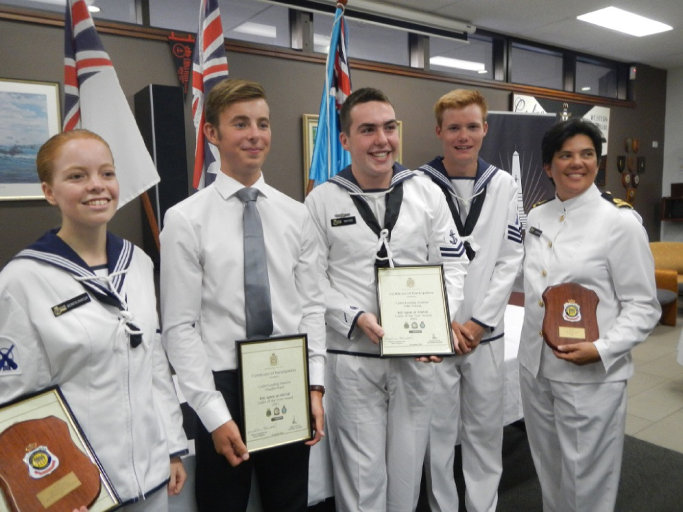 Leading Seaman Bronwyn Crawcour , former cadet Charlie Ward, Leading Seaman Toby Young, PO Matthew Penhorwood and TS Marmion Sub-lieutenant Clare McCaskie.
