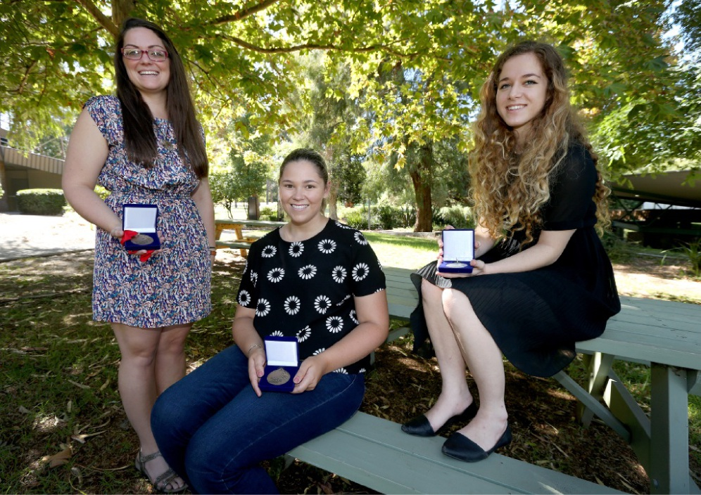 Three of the students who are going to the competition are Hayley Allen (hospitality), of Willetton, Alexandra Leighton (fashion), of Currambine, and Rebecca Heymanson (fashion), of Stirling. Picture: Matt Jelonek d449391