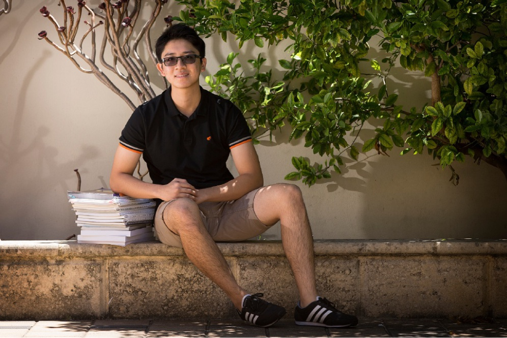 Dylan Mo relaxes after achieving an ATAR score of 99.45. Picture: Will Russell        www.communitypix.com.au   d449195