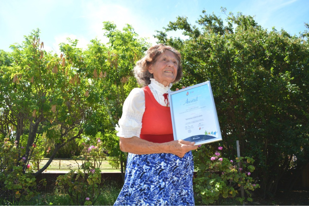 Venera Ucalano with her award on Australia Day.