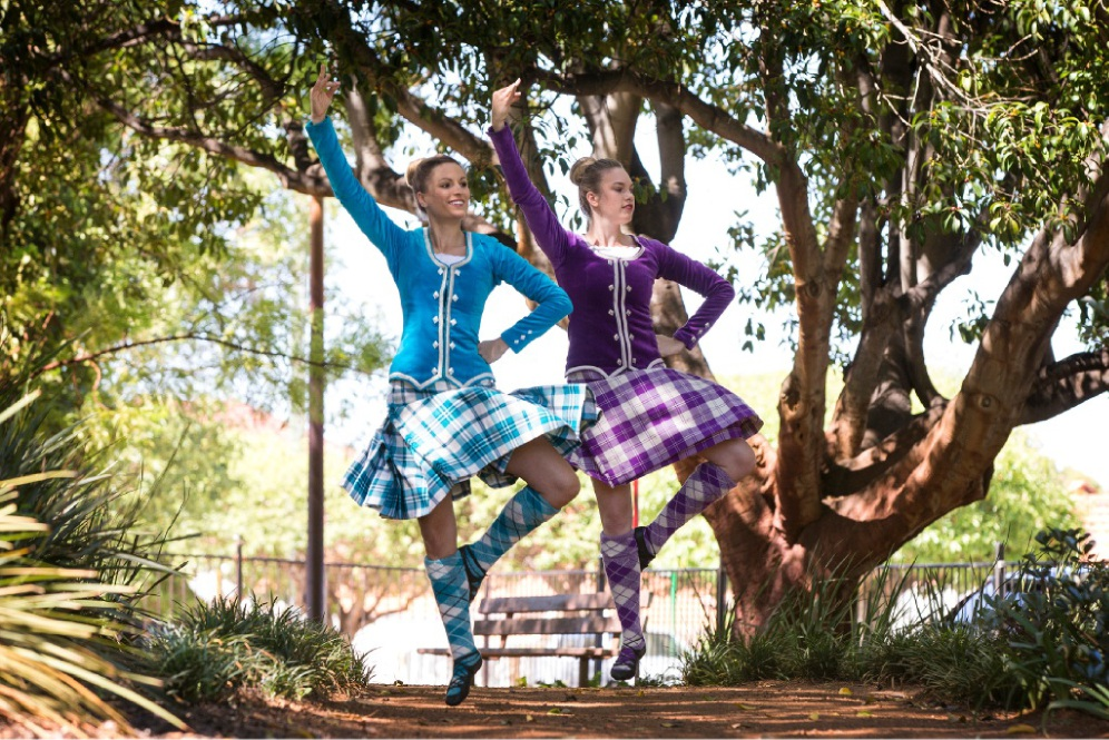 Scottish highland dancers Rebecca Adamson and Victoria Goode are travelling to Melbourne to dance in the Royal Edinburgh Military Tattoo. Picture: Will Russell  d449108