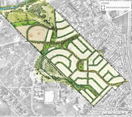 The structure plan for the Rosehill Waters development in South Guildford.
