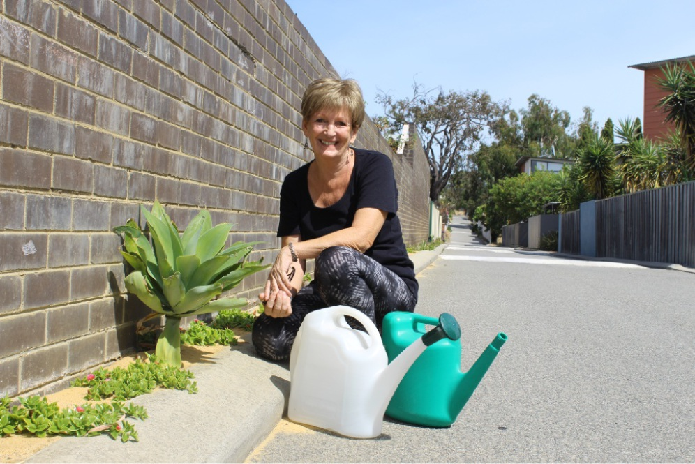 Lesley Blythman has brought some colour and new life to a laneway at the rear of her property. Picture: Kate Leaver