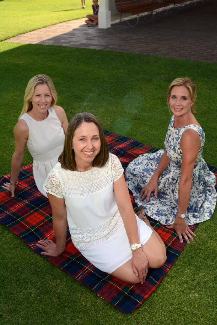 Peppermint Grove Carols by Candlelight committee members Andrea Guit, Simone Fleay and Petra Bowen. Picture: Jon Bassett