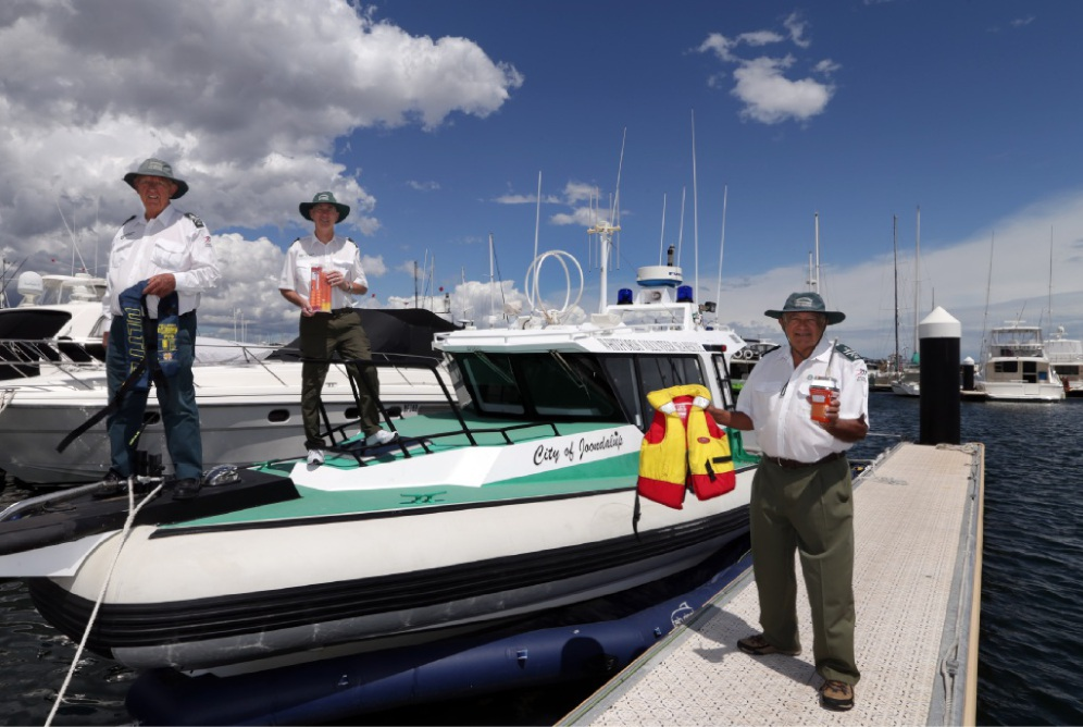 Ken Blackie, Rob Wesley and Roger Howell, from Whitfords Volunteer Sea Rescue, preparing for the trip to Rotto.  Picture: Martin Kennealey        d448814