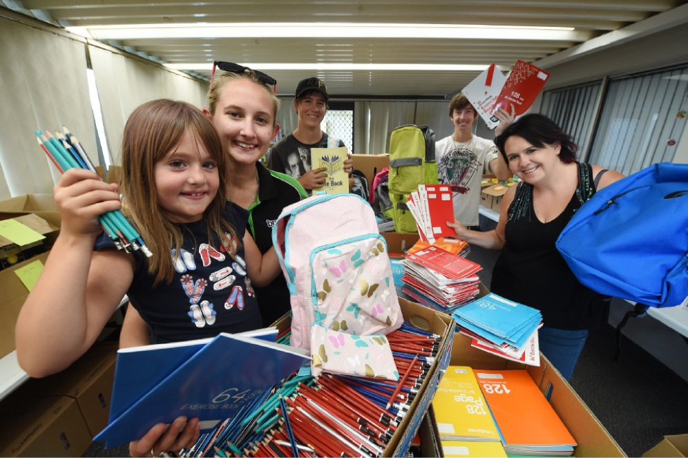 Sophie Fisher, Courtney Labrooy, Jayden and Adam Deters, and Chelle Fisher sort out donations for school children affected by the South-West fires.  Picture: Jon Hewson  www.communitypix.com.au   d449097