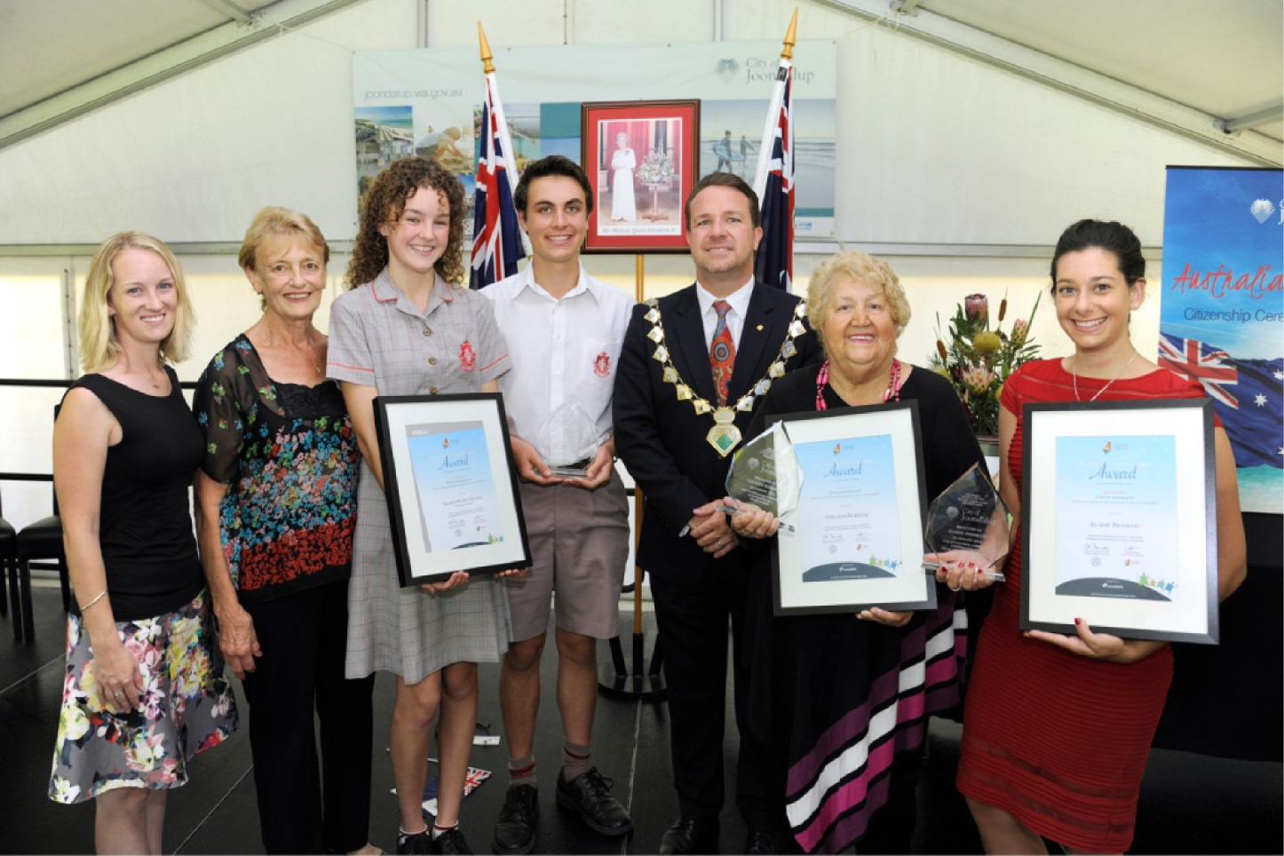 Deserving recognition: Sacred Heart College's Michelle Moreton, Rosanna Highwood, Matthew Kolomyjec and Meadbh Byrne, Joondalup Mayor Troy Pickard, Colleen Burgess and Elodie Prinsloo. Picture: Chris Kershaw
