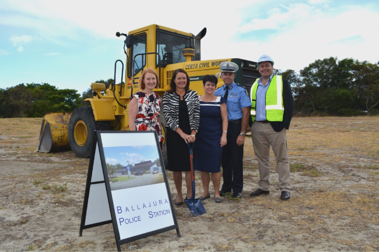 East Metropolitan MLC Donna Faragher, Police Minister Liza Harvey, East Metropolitan MLC Alyssa Hayden, WA Police metropolitan region Commander Brad Royce and Badge Constructions state manager Rob McLaughlin at the building site.