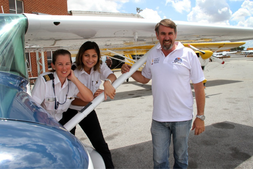 Pilots Charlee Hateley, Kovieva Fremy and Gary Evans are preparing for Australia Day. Picture: Robin Kornet        www.communitypix.com.au   d448835