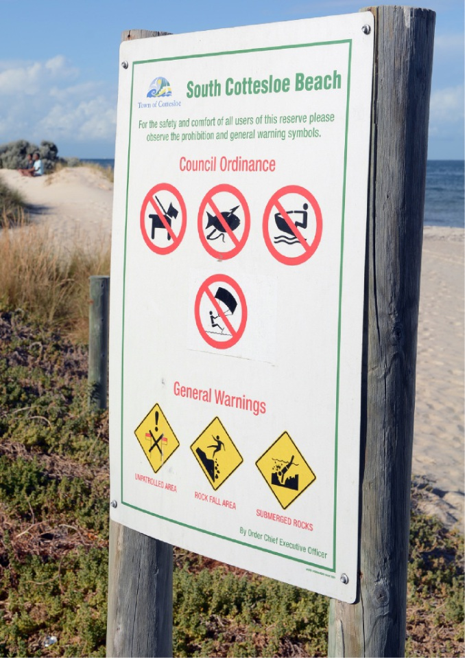 The sign banning kite surfing.
