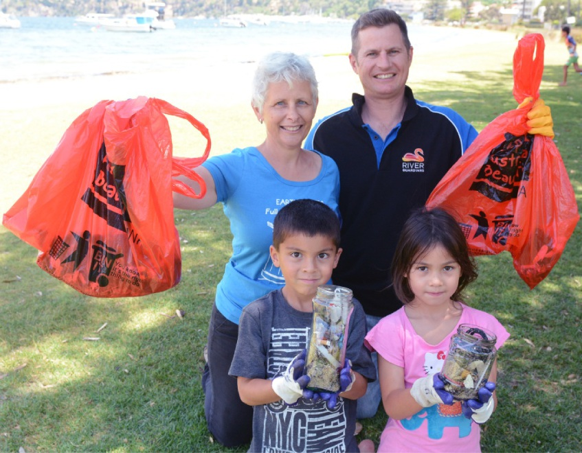 Earth Carer co-ordinator Libby Eustance and DoPW community engagement officer Jason Menzies joined Nedlands' Kate and Keani Schipper cleaning Claremont foreshore.