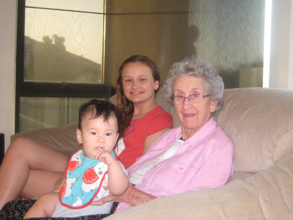 Elsie Carlisle on her 100th birthday with great-grandchildren Georgia Fenton (12) and Lincoln Carlisle (seven months).