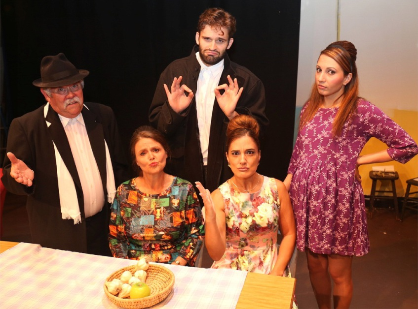 Andronikus (Rex Gray), Irena (Charlotte Weber), Stavros (Andre Balzelli), Athena (Vivienne Marshall) and Jenna (Valerie Dragojevic) in It's All Greek To Me Too!