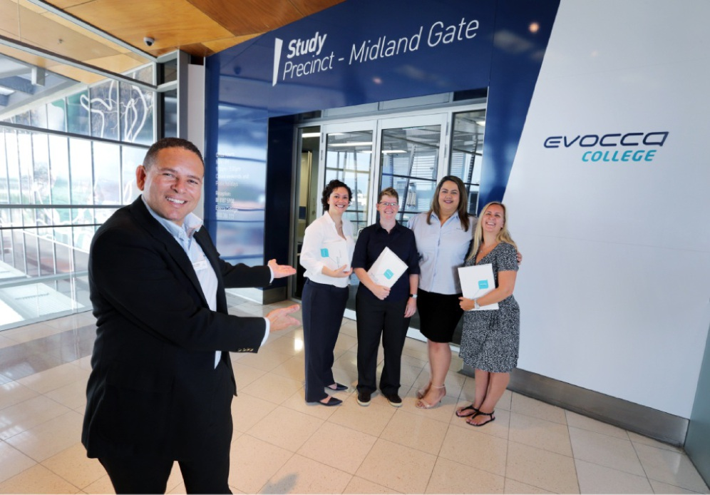 Evocca College campus manager Rowan De Beer with community services tutor Luana Gomes, business tutor Kati McKeon, state sales manager Jay-Leigh Wikaira and student |services officer Geraldine McBride. Picture: David Baylis        www.communitypix.com.au d449697