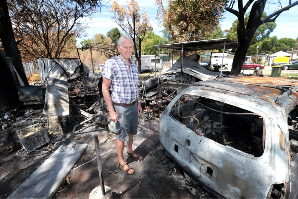 Mike Repacholi (Executive Director of the Midland Tourist Park) among some of the damaged accommodation. Picture: David Baylis. d448481