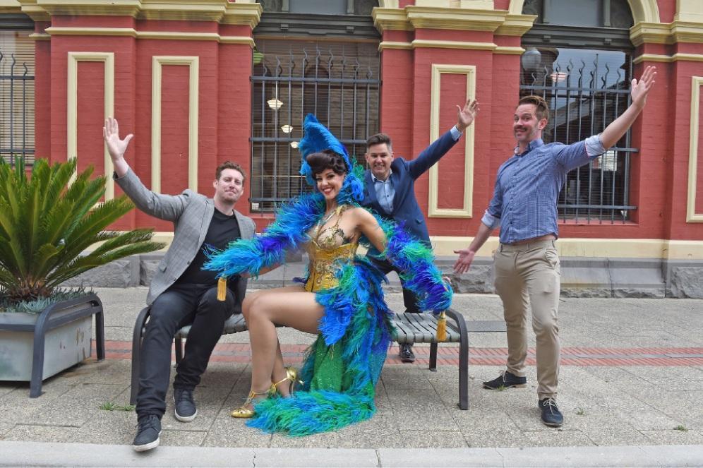 Ronan Freeburn, Sugar Blue Burlesque dancer The Sugar Duchess, Fremantle Mayor Brad Pettitt and Leigh Chalmers. Picture: Jon Hewson www.communitypix.com.au   d447396