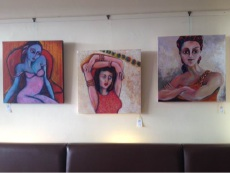 A number of pieces by artist Peta Garnaut on display during the Maya Introducing series at Maya Indian Restaurant.