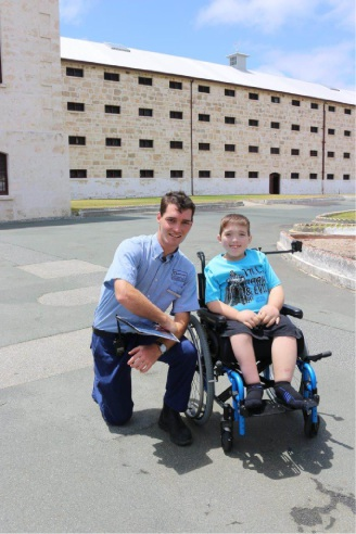 Fremantle Prison tour guide Ryan with Conor Brown during his visit to the prison.