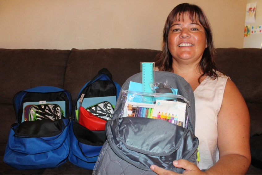 Helping Hands Cockburn founder Sandra McGreavey with back-to-school packs to be donated to children.