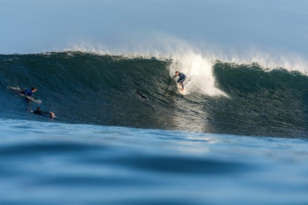 Author Jay Laurie enjoys the surf at Margaret River. Picture: Peter Jovic